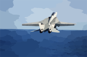 An F-14d Tomcat Assigned The Bounty Hunters Fighter Squadron Two (vf-2) Launches From The Aircraft Carrier Uss Constellation (cv 64) Towing A Tdu-32b/b Aerial Banner Tow Target. Clip Art