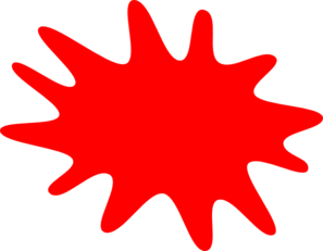 12 Finger Red Paint Splatter Clip Art