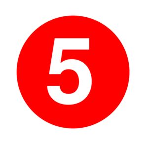 White Numeral 5 In Red Circle Clip Art