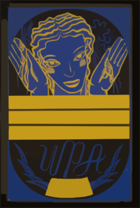 [wpa Poster Design On Blue Background Showing The Head And Hands Of A Woman Holding Flowers And Wheat Above A Blank Banner] Clip Art