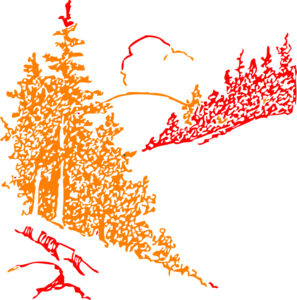 Orange And Red Mountains Clip Art