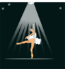 Ballerina Under Spotlight Clip Art