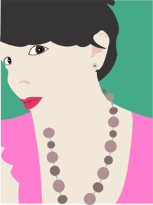 Woman Wearing Necklace Clip Art