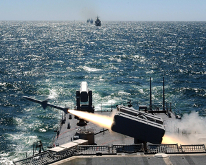 A Nato Sparrow Surface-to-air Missile Is Launched From The Deck Of Uss Stump (dd 978) Image