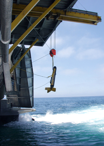 A Side-scan Sonar Unit Is Lowered Into The Waters Off The Coast Of California Image