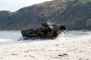 Amphibious Assault Vehicles (aav) Arrive On The Philippine Shore From The Amphibious Transport Dock Ship Uss Fort Mchenry (lsd 43). Image