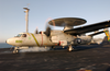 An E-2c Hawkeye Launches From The Flight Deck Aboard Uss Kitty Hawk (cv 63). Image