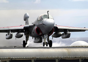 An Ea-6b Prowler Launches From One Of Four Steam Powered Catapults On The Flight Deck Aboard Uss Constellation (cv-64) For A Unit Level Training Mission Image