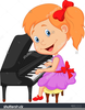 Child Playing Piano Clipart Image
