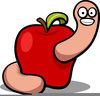 Apple And Worm Clipart Image