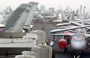 Visibility On The Flight Deck Aboard The Aircraft Carrier Uss Kitty Hawk (cv 63) Is Greatly Reduced As It Passes Through A Strong Sandstorm In The Arabian Gulf. Image