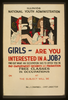 Girls - Are You Interested In A Job? Find Out What An Occupation Has To Offer You In Pay, Employment, Security, And Promotion : Free Classes In Occupations. Image