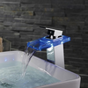 Contemporary Color Changing Led Single Handle Waterfall Bathroom Sink Faucet Image