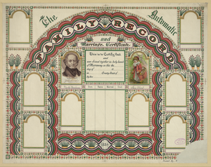 The Automatic Family Record And Marriage Certificate  / Penwork By [...]. Image