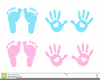 Pink Baby Handprint Clipart Image