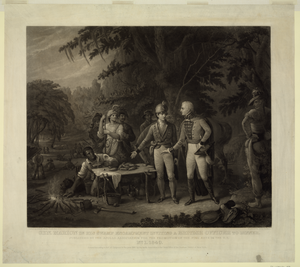 Gen. Marion In His Swamp Encampment Inviting A British Officer To Dinner  / Painted By John B. White; Engraved By John Sartain. Image