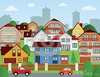 Suburban Houses Vector Illustration Image