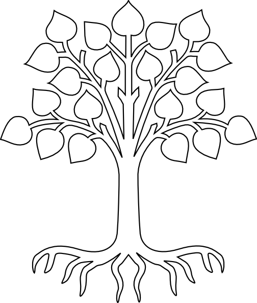 Simple Tree Roots Coloring Pages