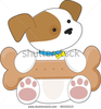 Stock Vector A Cute Puppy Has A Huge Dog Biscuit On Its Lap Image