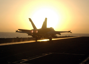 An F/a-18 Hornet Returns Aboard The Uss George Washington (cvn 73). Image