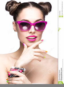Girl With Sunglasses Clipart Image