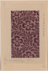 Textile Design With Flower Motif Image