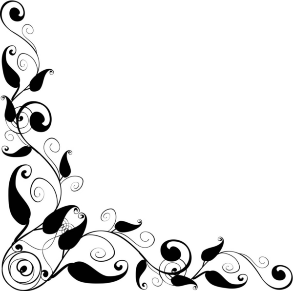Corner Border Designs Black And White Floral Design E Image
