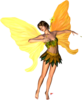 Fantasy Fairy Standing Yellow Wings Facing Right Image