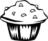 Blueberry Muffin (b And W) Clip Art
