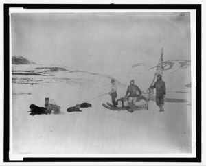 [lady Franklin Bay Expedition Members Lt. Lockwood, Sgt. Brainard, And Eskimo Leaving Conger, April] Image