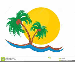 Sunset Palm Tree Clipart Image