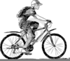 Clipart Of A Boy Riding A Bike Image