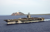 He Aircraft Carrier Uss Carl Vinson (cvn 70) Steams Away From Mount Suribachi And The Island Of Iwo Jima Image