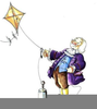 Ben Franklin Flying A Kite Clipart Image