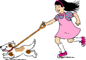 Dog And A Girl  Clip Art