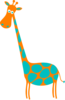 Giraffe Orange With Teal Dots Clip Art