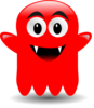 Red Glossy Ghost Clip Art