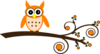Orange Owl On Branch Clip Art