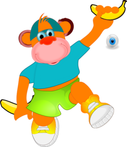 Monkey Holding Banana Clip Art