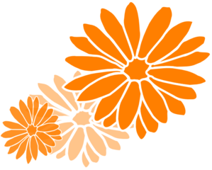 Dahlia Orange Three Clip Art