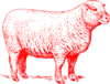 Red Sheep Outline Clip Art