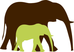 Green Baby Elephant And Mom 2 Clip Art