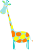 Giraffe Teal Lt Teal With Orange And Yellow Dots Clip Art