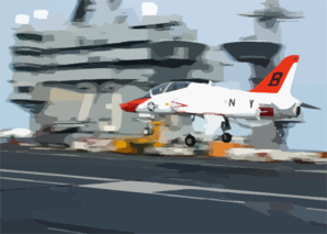 A T-45a Goshawk Makes A Final Approach With Tail Hook Down During An Arrested Landing Clip Art