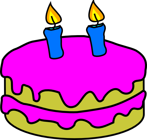 Free Clipart Birthday Cake Pictures : Birthday Cake 2 Candles Clip Art at Clker.com - vector ...