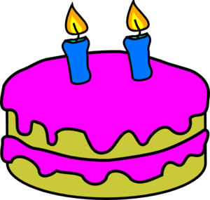 Birthday Cake 2 Candles Clip Art