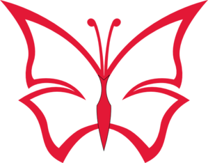 Red Butterfly Outline Clip Art