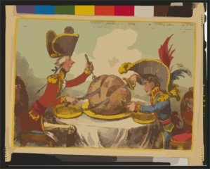 The Plumb-pudding In Danger, Or, State Epicures Taking Un Petit Souper ...  / Js. Gillray, Inv. & Fecit. Clip Art