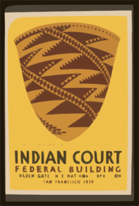 Indian Court, Federal Building, Golden Gate International Exposition, San Francisco, 1939 Pomo Indian Basket, California / Siegriest. Clip Art