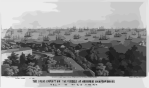 The Great Expedition- The Vessels At Anchor At Hampton Roads, From The Top Of The Hygeia Hotel, Old Point Comfort, Va. Clip Art
